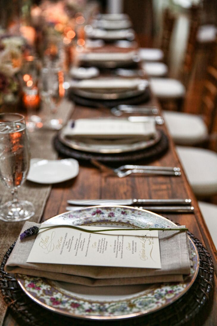 Menu Cards on Plates of Wooden Table