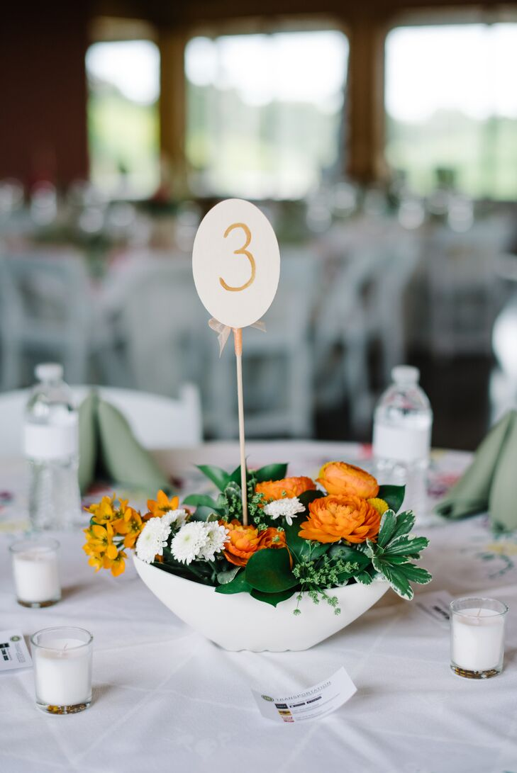 Low Centerpiece with Orange Ranunculus