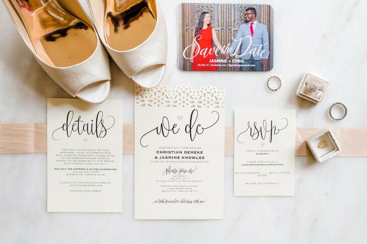 Elegant ivory invitation embellished with gold calligraphy set the tone for Jasmine and Chris's refined vineyard wedding celebration.