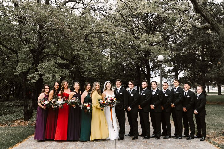 Modern Wedding Party in Tuxes and Bright Mismatched Dresses