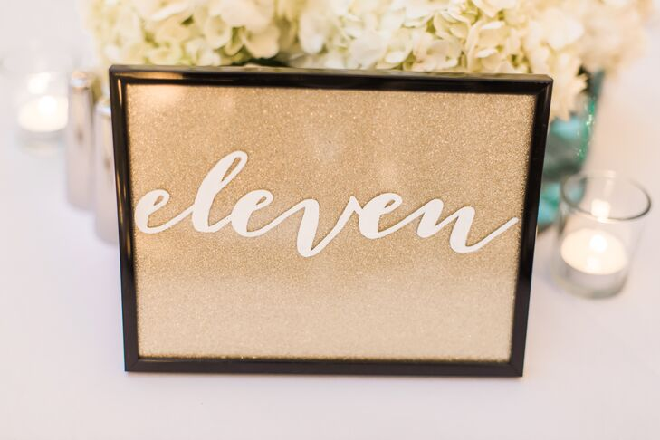 White Calligraphy Framed Table Numbers