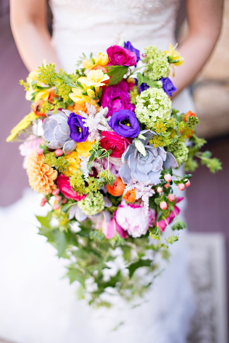 Colorful Succulent Rose Dahlia And Hydrangea Bridal Bouquet
