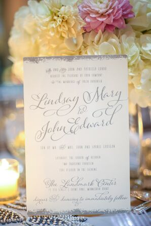 Whimsical Ivory and Silver Invitations
