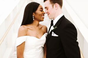 Classic Bride with Off-the-Shoulder Wedding Dress and Groom in Black Tux