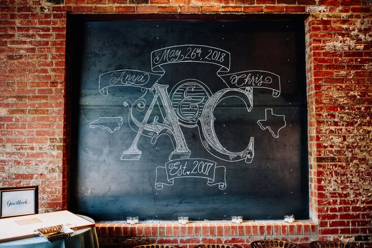 Modern Chalkboard Sign with Monogram