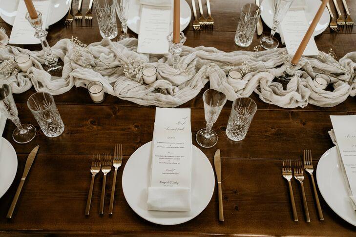 Boho Place Setting on Wood Farm Table for Wedding in Durham, North Carolina
