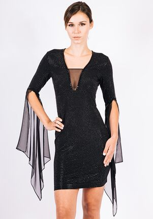 Grayse Wedding Party Pave Flutter Sleeve Dress - W1450304 Black Mother Of The Bride Dress