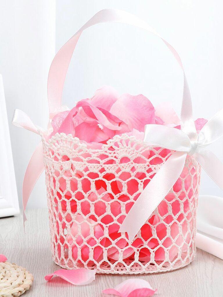 open weave flower girl basket