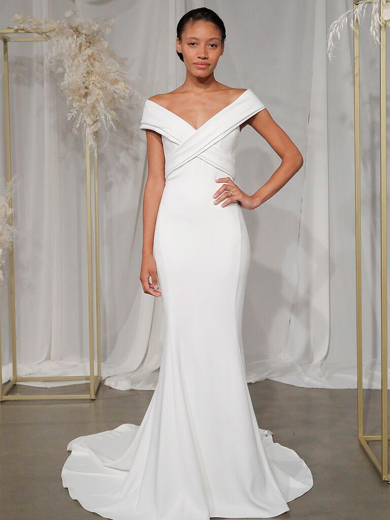 nouvelle amsale off the shoulder gown