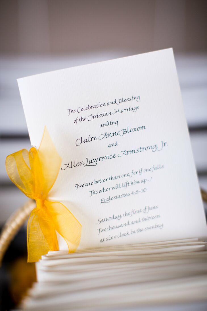 The programs were printed with brilliant gold ink on ivory card stock. A bright yellow ribbon along the side was the finishing touch.