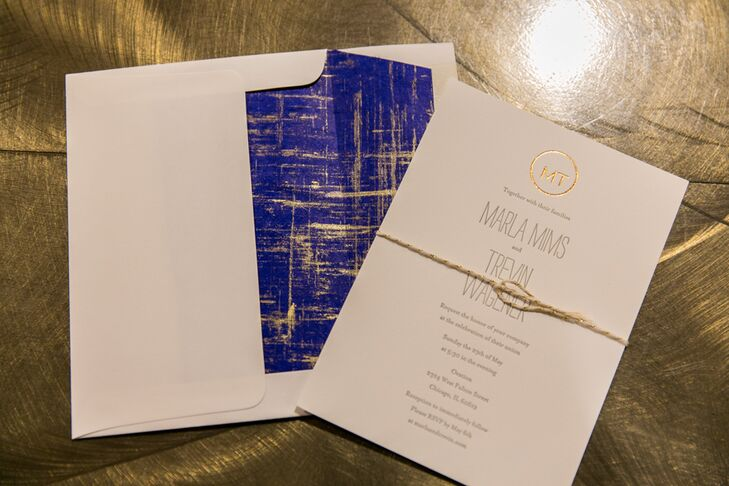"""The bright blue and gold invitations set the tone for an elegant yet laid-back wedding. """"We wanted everything to be beautiful but without feeling stuffy,"""" Marla says."""