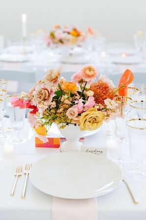 Modern White Place Settings and Vintage Pink and Yellow Centerpieces