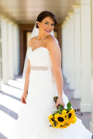 Bride in a Casablanca Wedding Dress and Rhinestone Belt