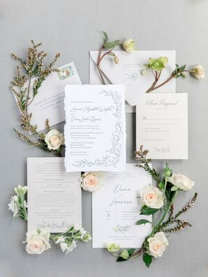 Simple, Formal Wedding Invitations with Nature-Inspired Motif