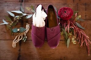 Maroon Tom's Wedding Shoes