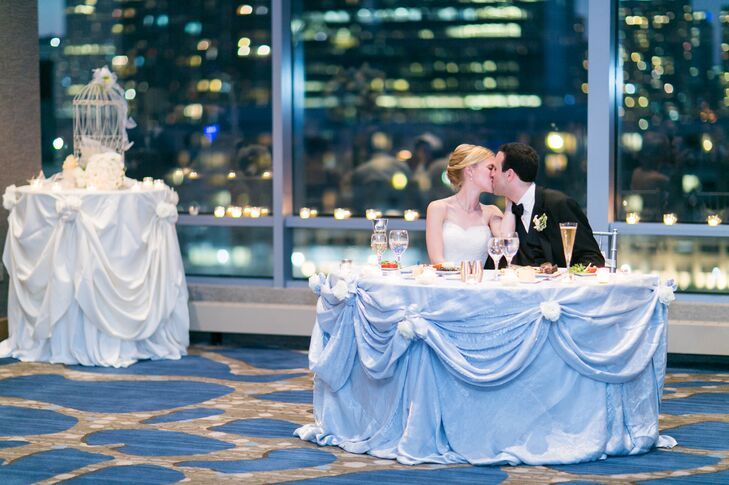 Elegantly Draped Blue Tablecloth for Sweetheart Table