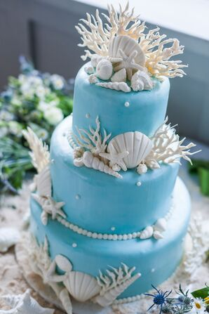 White Seashell and Coral-Decorated Blue Wedding Cake