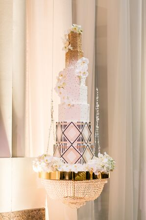 Glamorous Suspended Tiered Cake with Art Deco Details