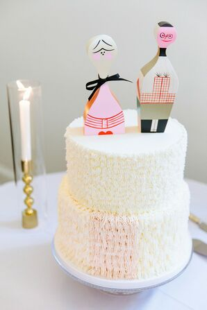 Modern Two-Tier Wedding Cake with Textured Frosting and Eclectic Topper