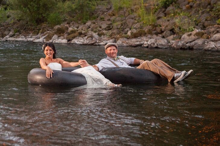Couple Floating in Water on Tubes