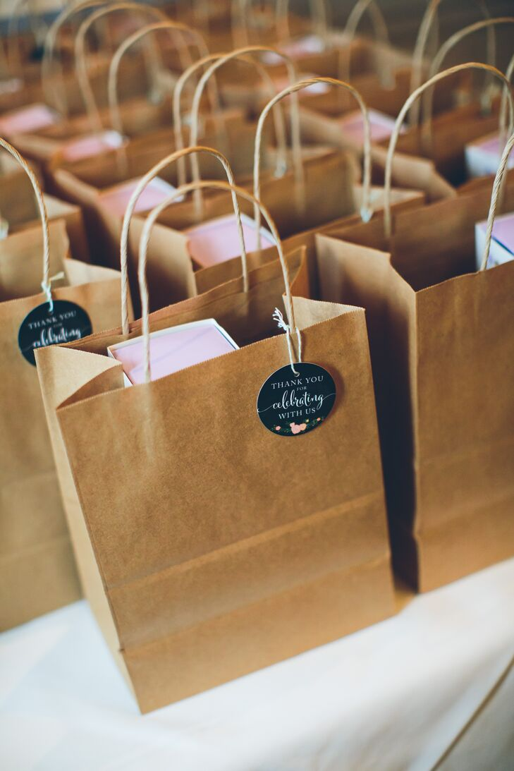 Brown Bag Favor Bags with Personalized Gift Tags
