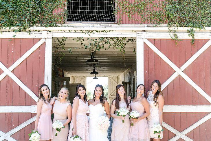 Blush Mismatched Bridesmaid Dresses