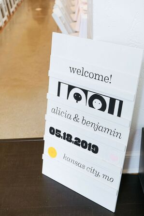 Simple Black-and-White Wedding Sign with Typography