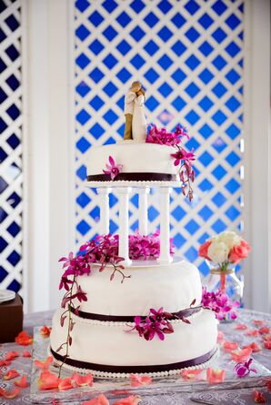Tiered Wedding Cake With Fuchsia Orchids