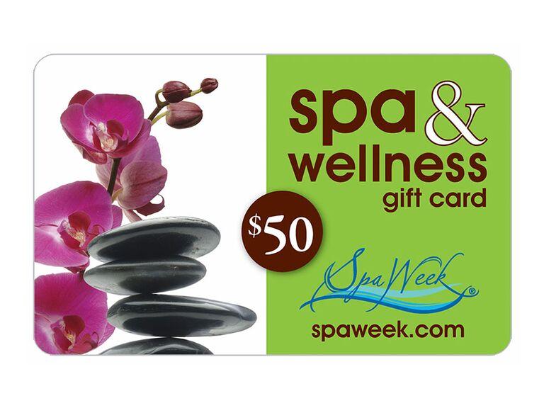 Spa Week gift card bridal shower favor
