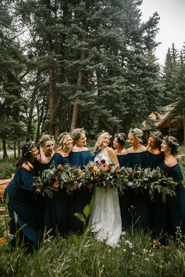 Bridesmaids with Flower Crowns and Blue Off-Shoulder Dresses