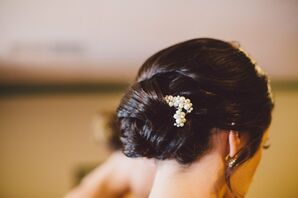Low Chignon With Pearl Accent