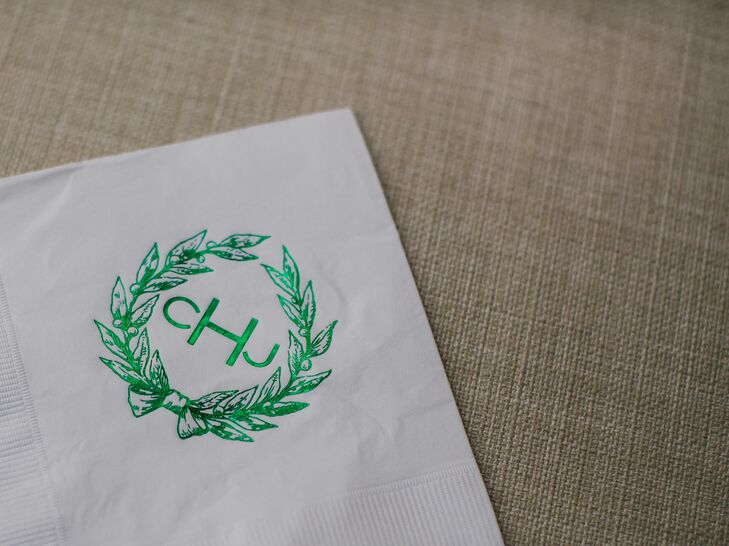 The couple incorporated their custom monogram throughout the day, from the elegant formal invitations to the ceremony programs and napkins at cocktail hour.