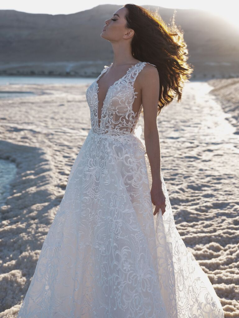 Pnina Tornai Spring 2020 Bridal Collection embroidered A-line wedding dress with plunging neckline and bodice