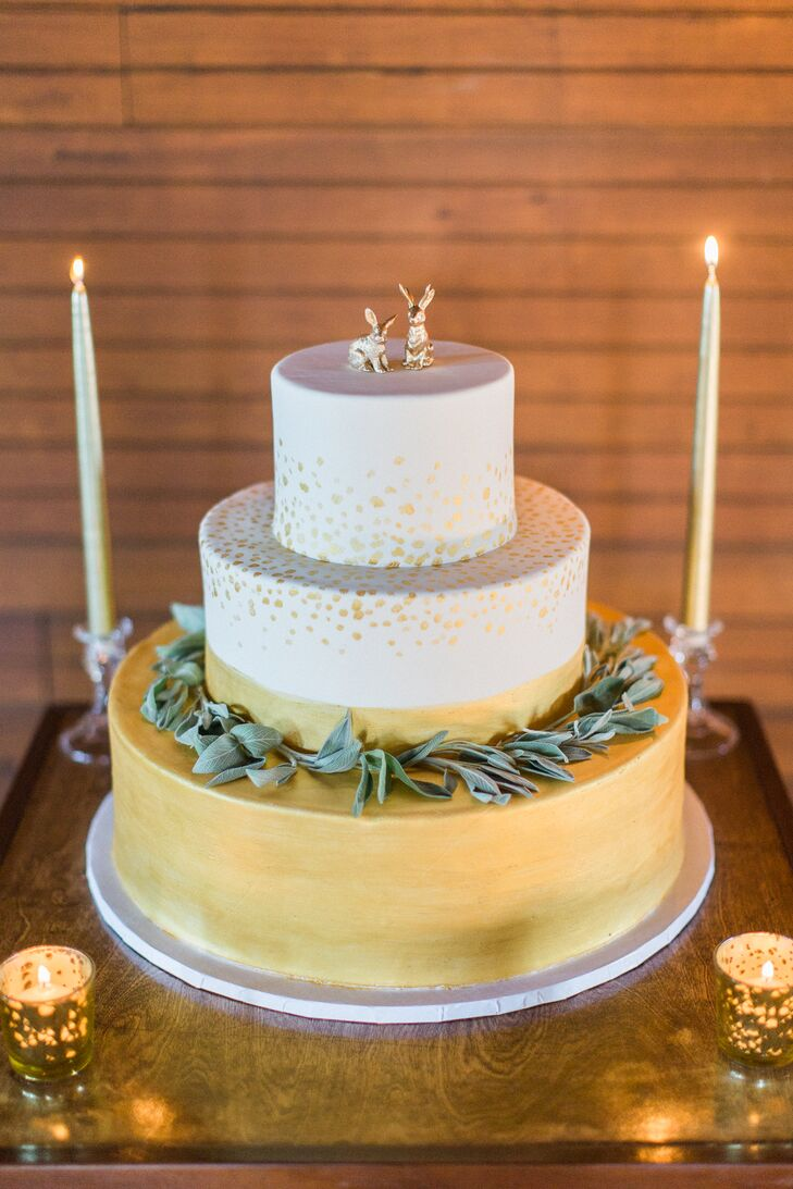 Gold, Hand-Painted Fondant Cake