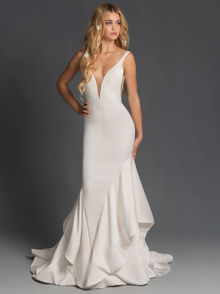 Blush by Hayley Paige Fall 2019 plunging sheath wedding dress with ruffled skirt