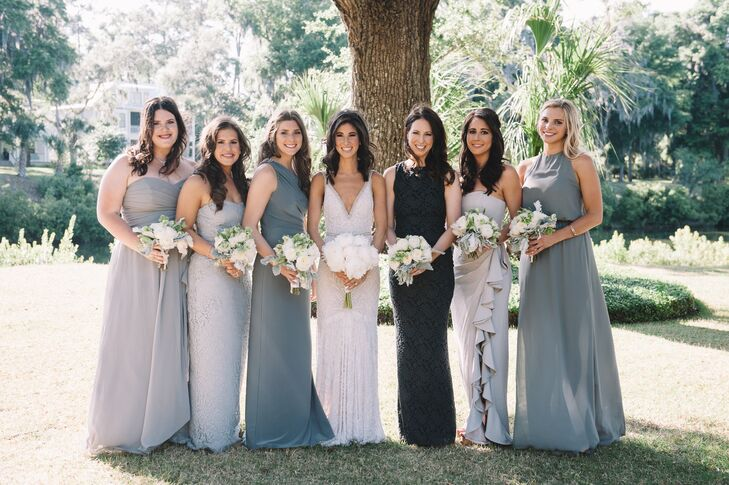 """I wanted my bridesmaids to feel comfortable. Since it was a destination wedding, I tried to be conscious of how much they were spending,"" Molly says. ""So I let them choose whichever dress they wanted, as long as it was a shade of gray and long. I love the new trend of wearing one color but different styles. I think it looks great and is what bridesmaids prefer, so it's a win-win."""