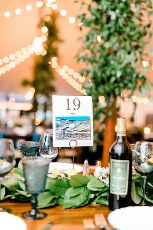 Rustic Watercolor Table Numbers and Mediterranean-Inspired Centerpieces