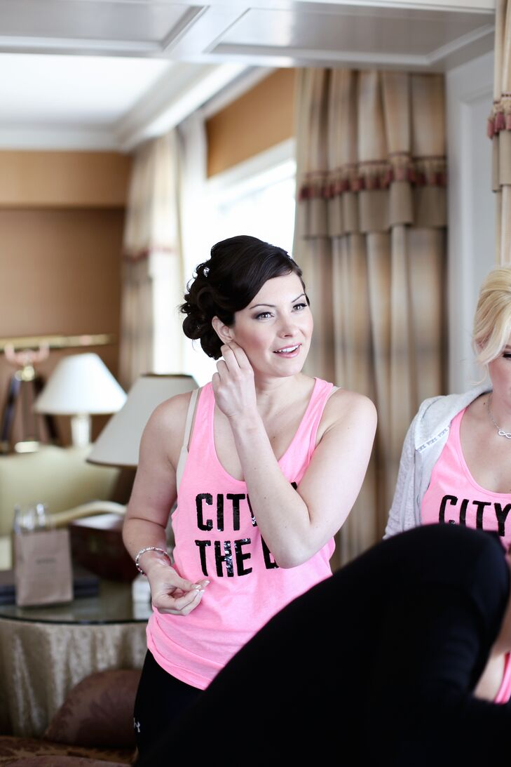Bridesmaids Getting Ready in Matching Tank Tops