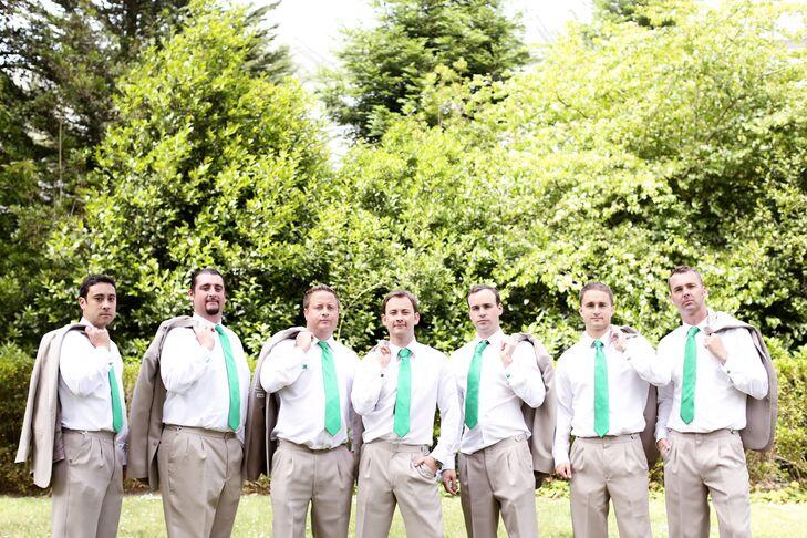 Groomsmen With Green Ties