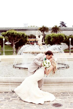 Bride and Groom at Golden Gate Park Fountain