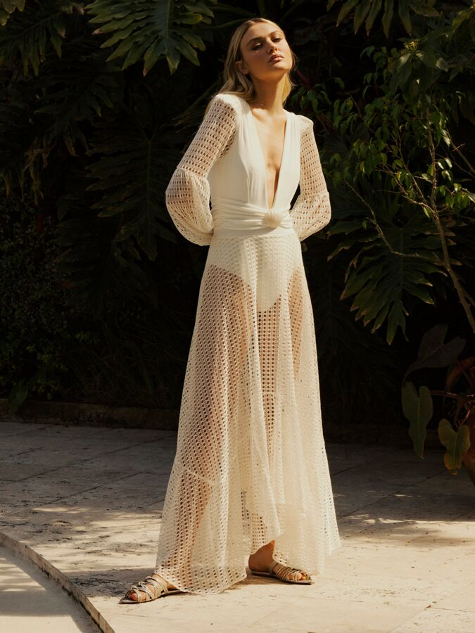 PatBO Lycra bodysuit with flowy skirt and billowing sleeves