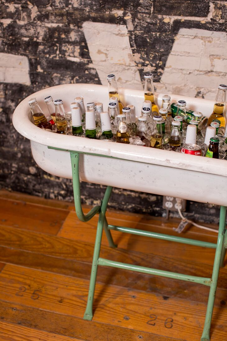 A tubful of ice kept the beer assortment chilled throughout the night.
