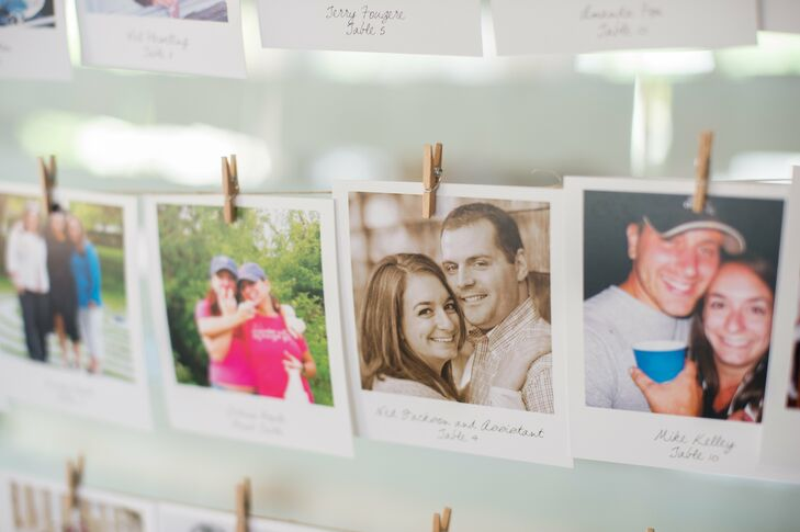 For the escort cards, Kathryn and Justin dug through hundreds of old photos and found a picture of either one of them with .  The guest's pictures were printed to look like old Polaroid photos.  These were the highlight of cocktail hour – so many guests showed off their photo and told stories of when it was taken.
