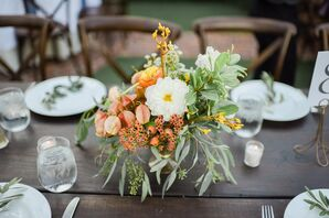 White and Citrus Centerpiece With Chrysanthemums
