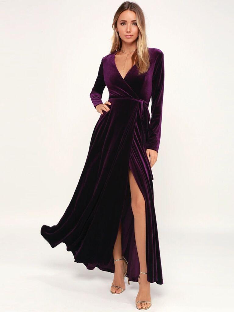 Lulus Jacinda plum-purple velvet wrap maxi dress winter bridesmaid dress