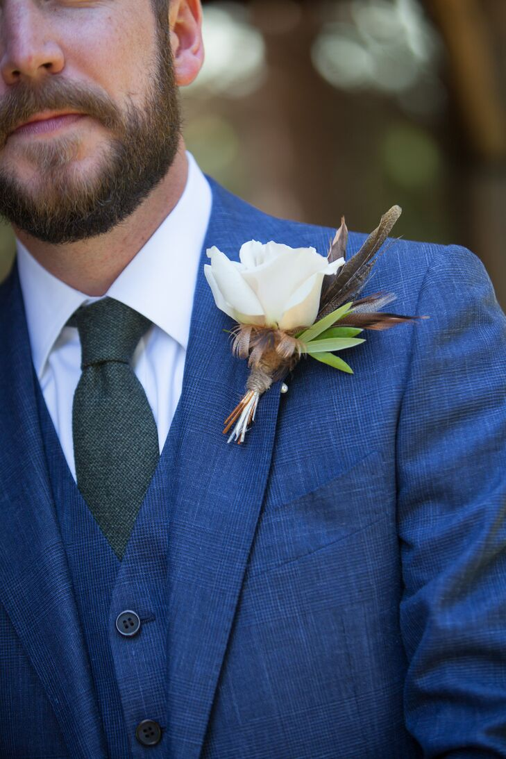 Bird Feather and White Rose Boutonniere