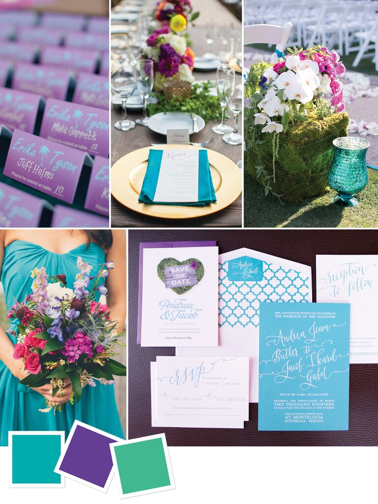 b3c37c2cc4b Beach wedding color scheme with teal, purple and green