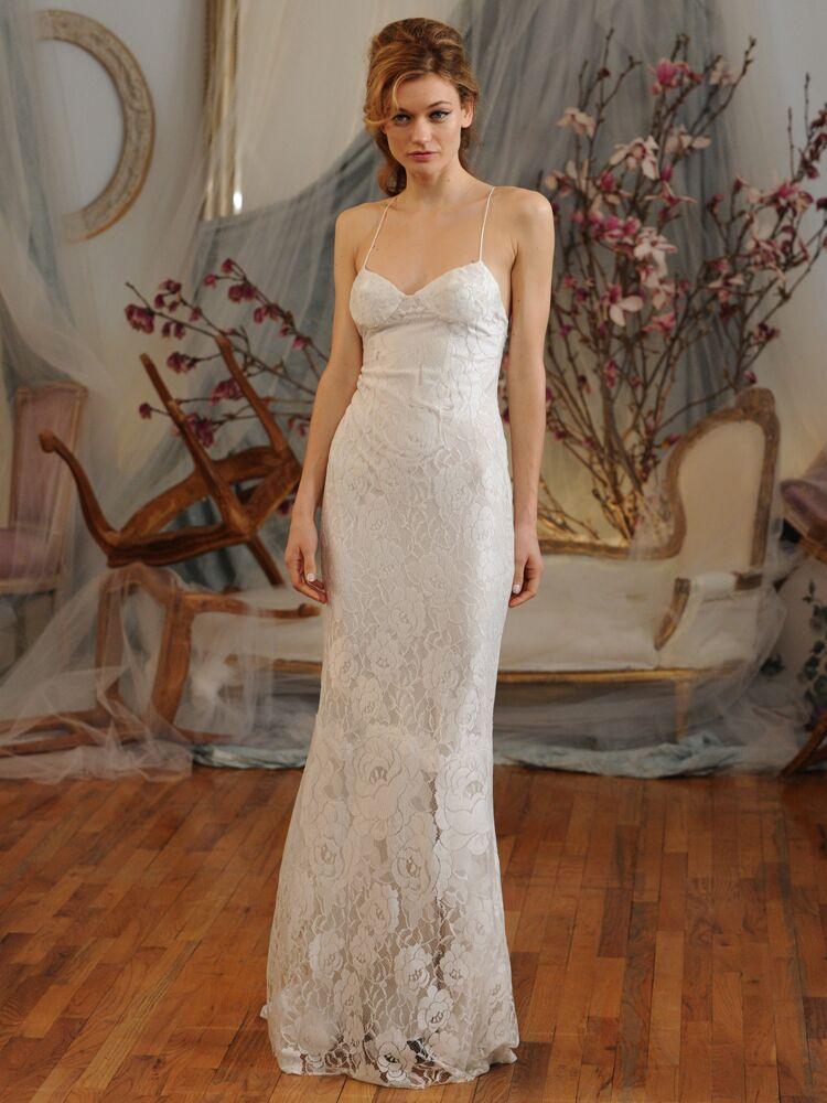 Elizabeth Fillmore Rose Lace Sheathe Wedding Dress Spring 2016