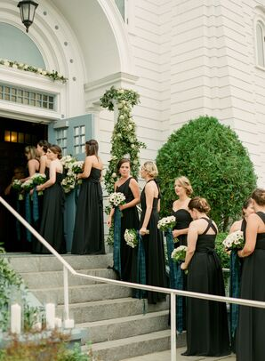 Bridesmaids in Black Dresses Holding Bouquets with Plaid Ribbon