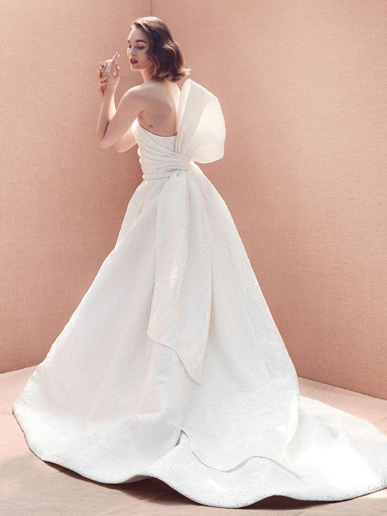 Oscar de la Renta Spring 2020 Bridal Collection wedding dress with oversize back bow